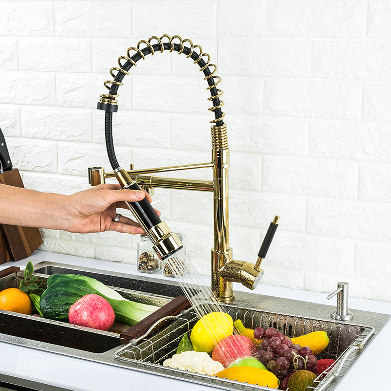 Gold Kitchen Sink Faucet With Pull Out Sprayer Double Handle Mixer Taps Us Dual 742010822295 Ebay